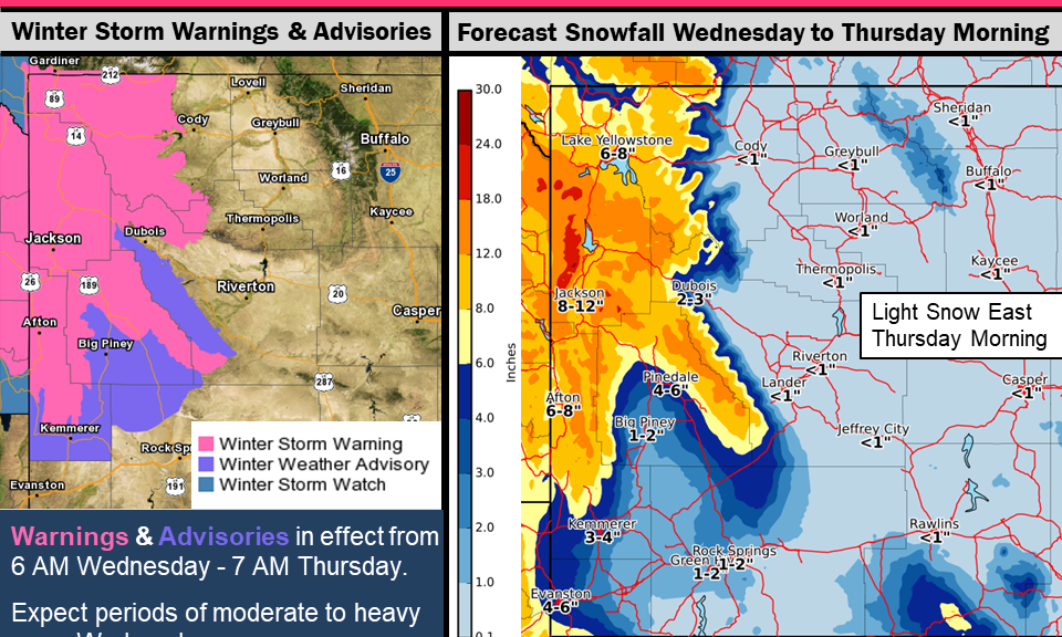 Weather Map Of Wyoming.Updated Winter Storm Warning For Much Of Western Wyoming Star